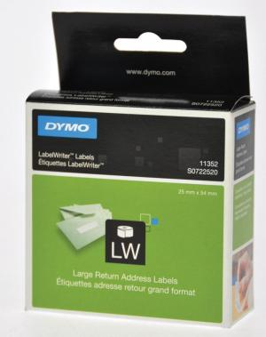 Dymo label retouradres 25 x 54mm, wit, p