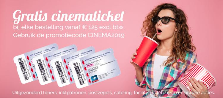 Gratis cinematicket per aankoopschijf van €125 excl btw