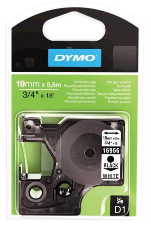 Dymo D1 tapes 19 mm x 5,5m zwart/wit per