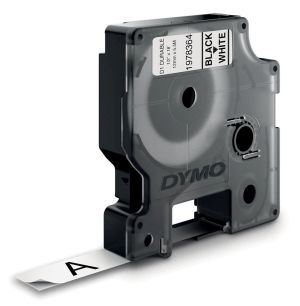 Dymo duurzame D1 tape 12 mm x 5 m,zwart