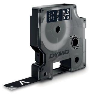 Dymo duurzame D1 tape 12 mm x 3 m,wit op