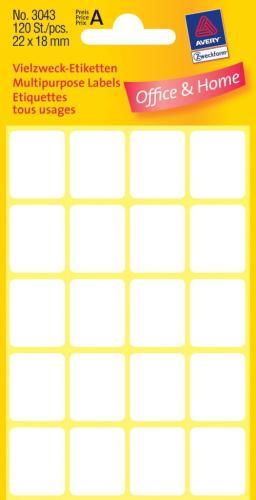 Zweckform kantooretiket 22x18mm wit(10)
