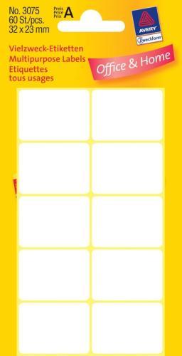Zweckform kantooretiket 32x23mm wit, 10