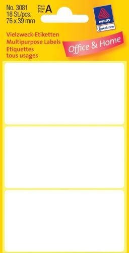 Zweckform kantooretiket 76x39mm wit, 10
