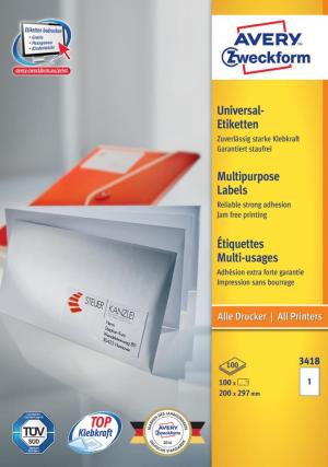 Zweckform etiketten 200 x 297mm wit, 1 p
