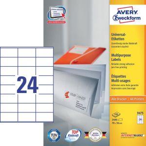 Avery witte etiketten QuickPeel  Ft 70 x 36 mm (b x h), 2.400 stuks, 24 per blad, doos van 100 blad
