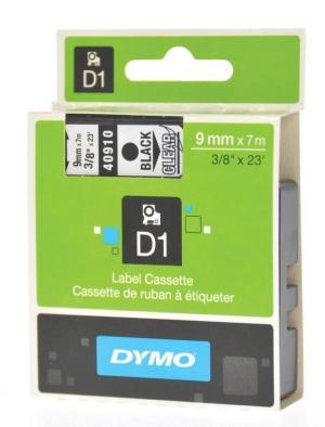 Dymo D1 tape 9 mm x 7 m, zwart/transpara