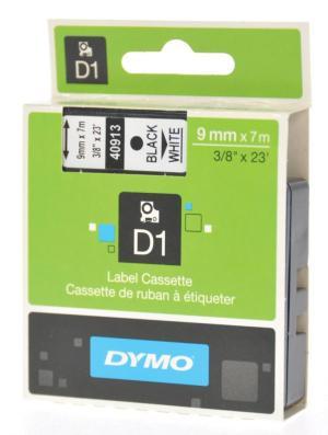 Dymo D1 tape 9 mm x 7 m, zwart/wit
