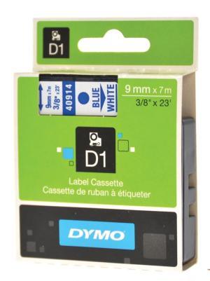 Dymo Tape D1 9 mm x 7 m, blauw op wit