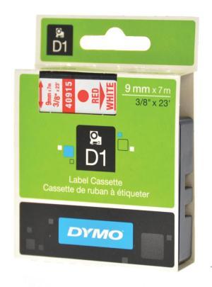 Dymo Tape D1 9 mm x 7 m, rood op wit