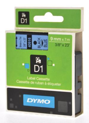 Dymo D1 tape 9 mm x 7 m, zwart op blauw