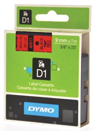 Dymo D1 tape 9 mm x 7 m, zwart/rood