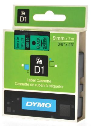 Dymo Tape D1 9 mm x 7 m zwart/groen