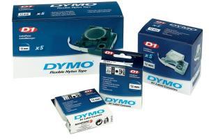 Dymo D1 tape 6 mm x 7 m, zwart/transpara