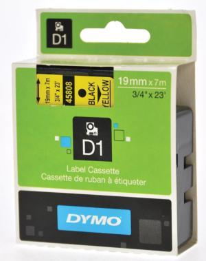 Dymo D1 tape 6 mm x 7 m, zwart/geel