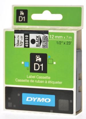 Dymo D1 tape 12 mm x 7 m, zwart/transpar