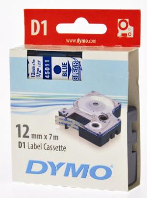 Dymo Tape D1 12mm x 7m, blauw op transpa