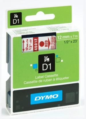 Dymo D1 tape 12 mm x 7 m,  rood/transpar