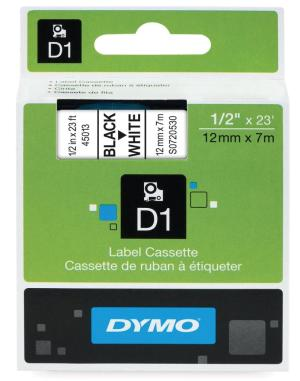 Dymo tape D1 12mmx7m zwart op wit (S0720