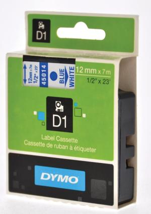 Dymo D1 tape 12 mm x 7 m, blauw/wit