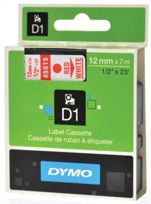 Dymo D1 tape 12 mm x 7 m, rood/wit