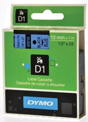 Dymo D1 tape 12 mm x 7m, zwart/blauw
