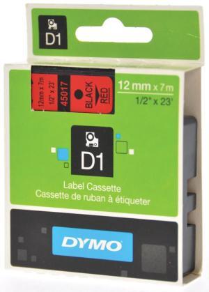 Dymo D1 tape 12 mm x 7 m, zwart/rood