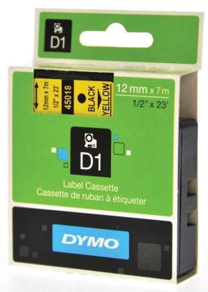 Dymo Tape D1 12 mm x 7m, zwart op geel