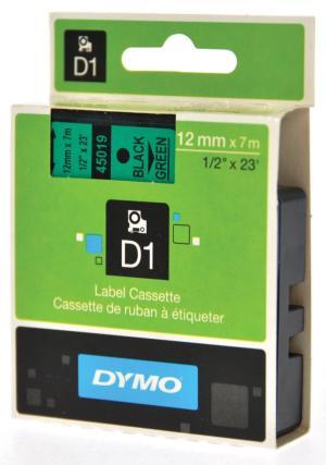 Dymo D1 tape 12 mm x 7 m, zwart/groen