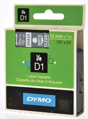 Dymo D1 tape 12 mm x 7 m, wit/transparan