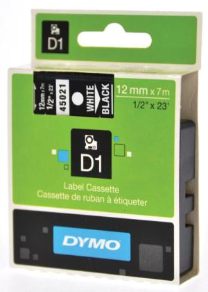 Dymo D1 tape 12 mm x 7 m, wit/zwart