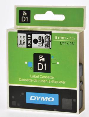Dymo Tape D1 19 mm x 7m, zwart/transpara