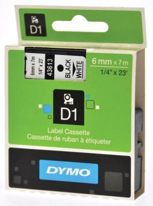 Dymo D1 tape 19 mm x 7 m, zwart opwit