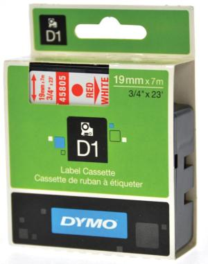 Dymo Tape D1 19 mm x 7m, rood op wit