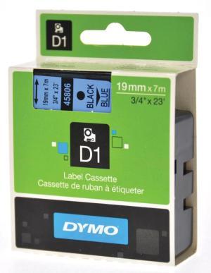 Dymo D1 tape 19 mm x 7 m, zwart opblauw