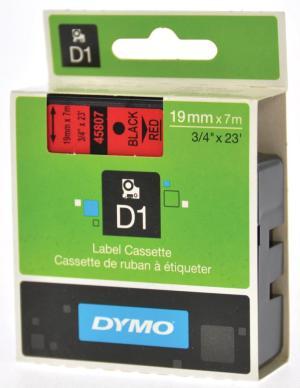 Dymo Tape D1 19 mm x 7m zwart op rood