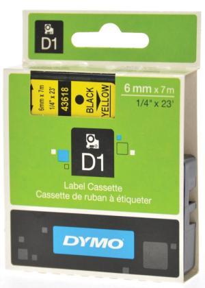 Dymo D1 tape 19 mm x 7 m, zwart/geel
