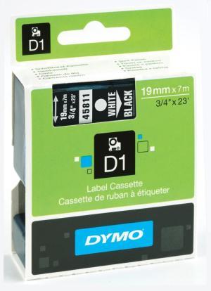 Dymo D1 tape 19 mm x 7 m, wit op zwart
