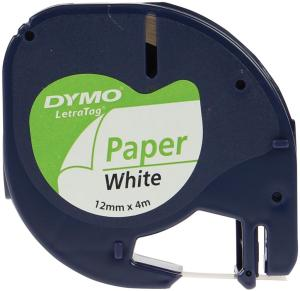 Dymo Letra Tag tape papier wit 12 mm x 4