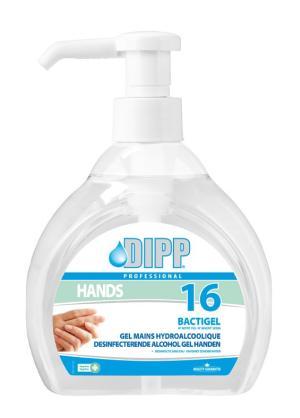 DIPP n°16 desinfecterende alcohol gel handen Bactigel 500ml pomp