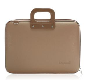 bombata laptoptas grijs bruin