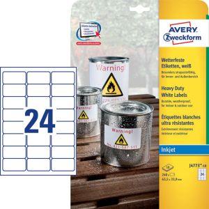 Avery Zweckform J4773-10 weerbestendige etiketten ft 63,5 x 33,9 mm (b x h), 2.400 etiketten, wit