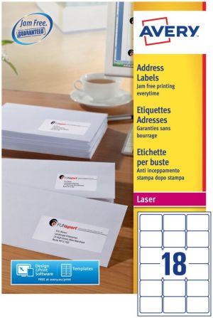 Avery L7161-100 adresetiketten ft 63,5 x 46,6 mm (b x h), 1.800 etiketten, wit