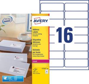 Avery L7162-40 adresetiketten ft 99,1 x 33,9 mm (b x h), 640 etiketten, wit