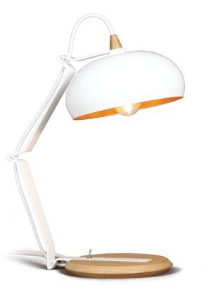 Bureaulamp Rhoda TBS Lampari wit - interieur goud