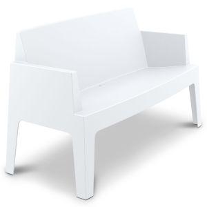 Terrasbank Box tweezit in kuipvorm wit