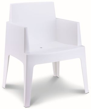 Terrasstoel Box kuipvorm wit