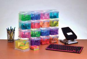 Really Useful Box transparante muurkubus met 16 gekleurde opbergdozen van 0,14 liter