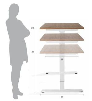 Zit-sta tafel Flex 3 EL 120 x 80 oak medium blad wit metalen tafelpoot