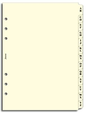 Filofax organiser A5 A-Z index 2 letters per tab crème